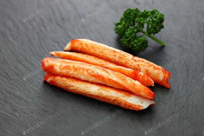 one of surimi products, imitation crab stick, japanese food