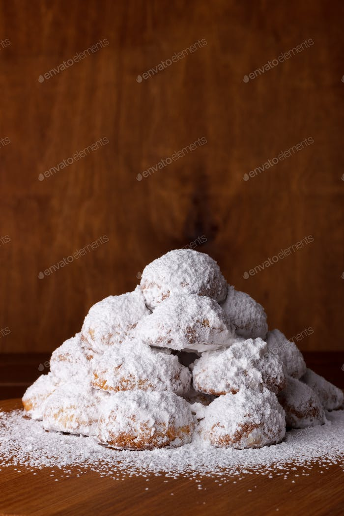 Cookies with almonds on dark