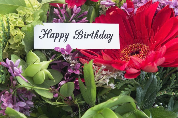 Happy Birthday Card withf Spring Flowers