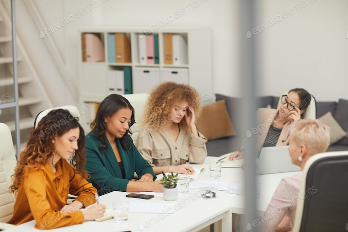 Five Women Having Business Meeting