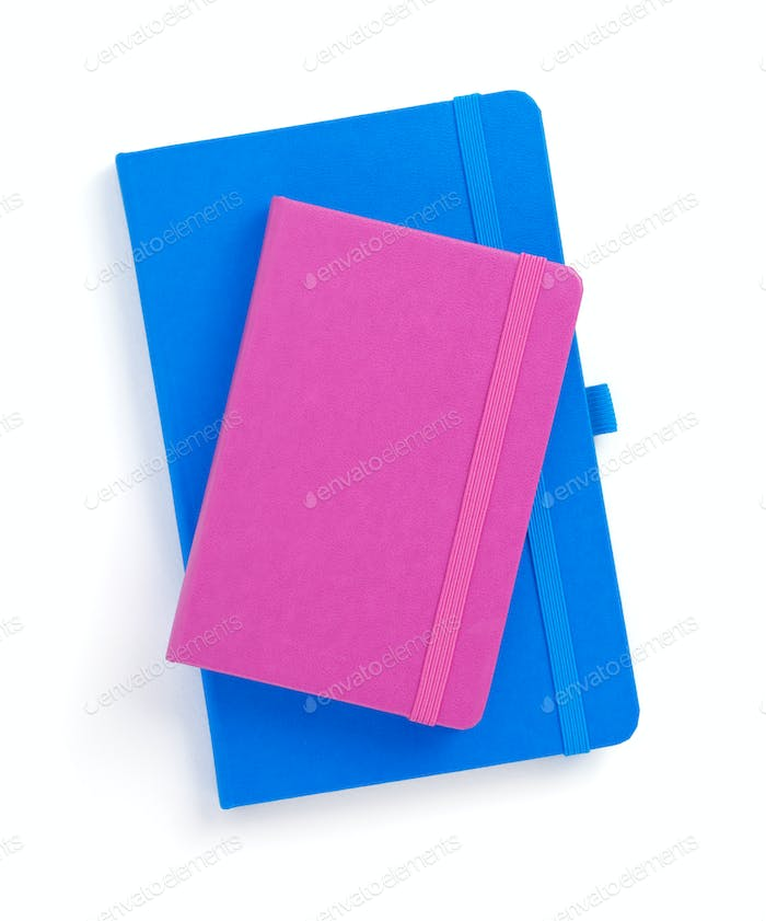 closed notebook or notepad at white background