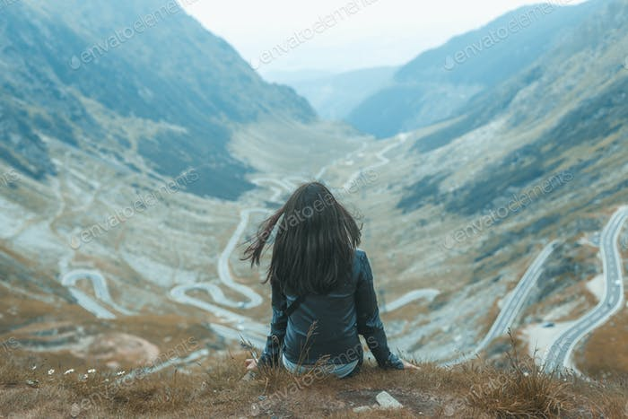 Alone girl on the mountain