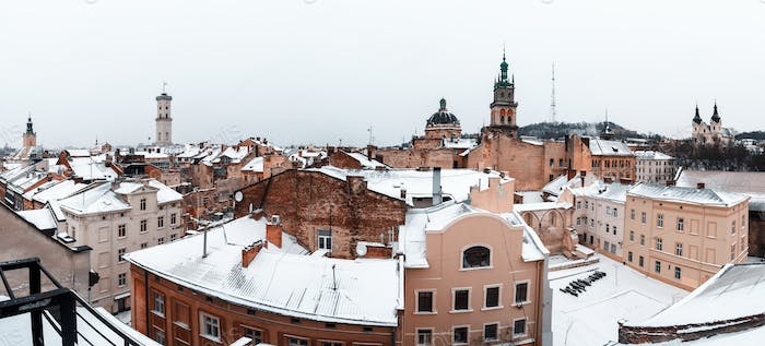 Picturesque view on Lviv city center from top of old roof