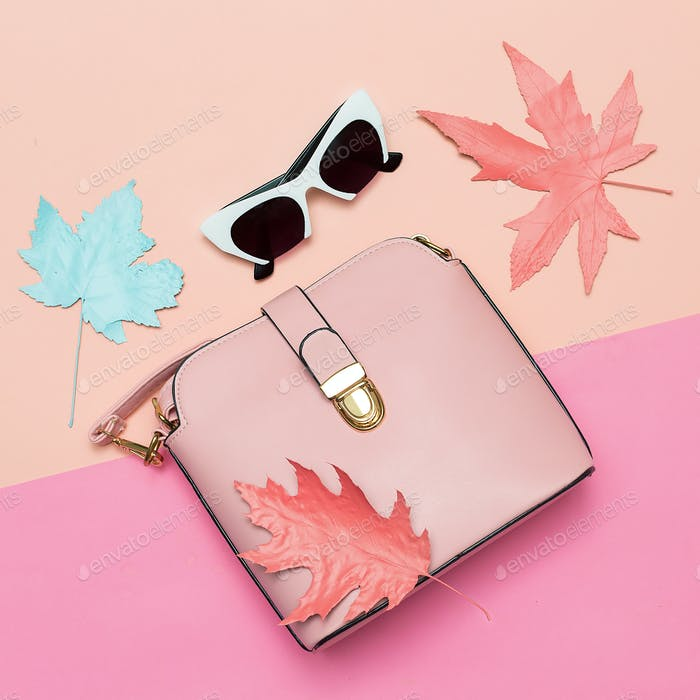 Fashionable Pink Bag and retro sunglasses for lady. Spring vibra
