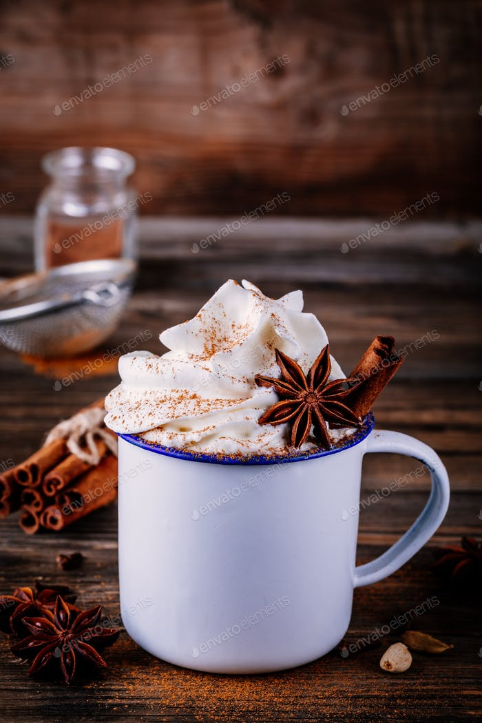 Hot chocolate drink with cinnamon and whipped cream.
