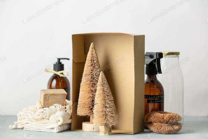 Coconut fiber Christmas trees in a box,  Zero waste beauty body care and house cleaning items
