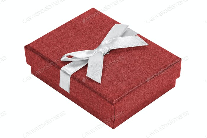 Red decorative present box with white ribbon