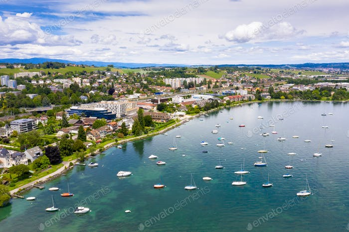 Aerial view of Morges city waterfront in the border of the Leman