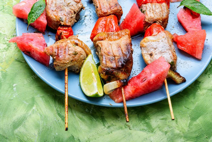 Shish kebab on a stick