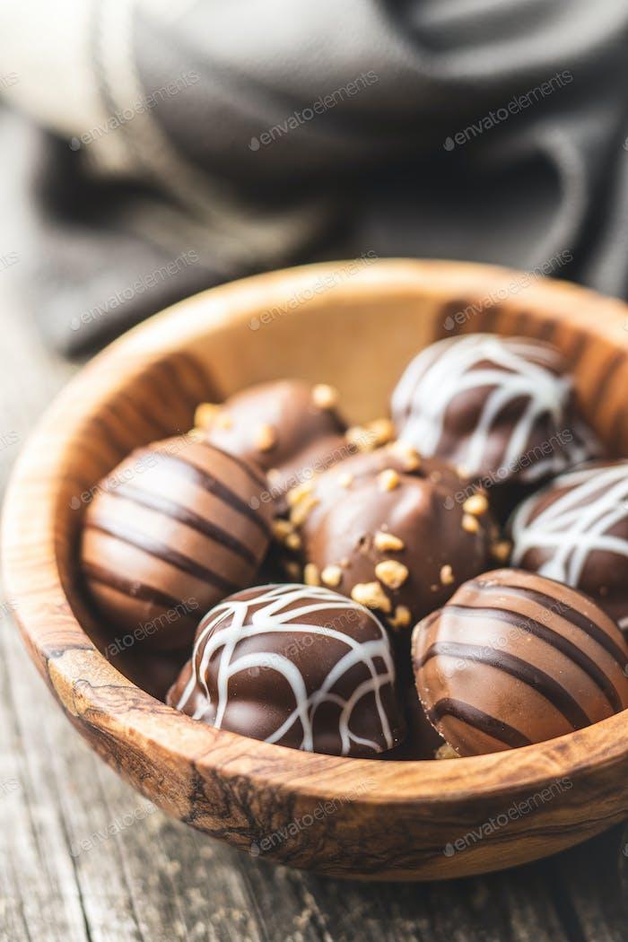 Praline bonbons. Chocolate truffles.