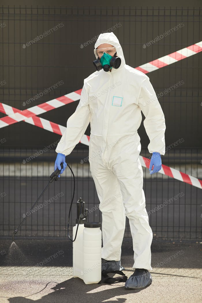 Disinfection Worker with Danger Tape