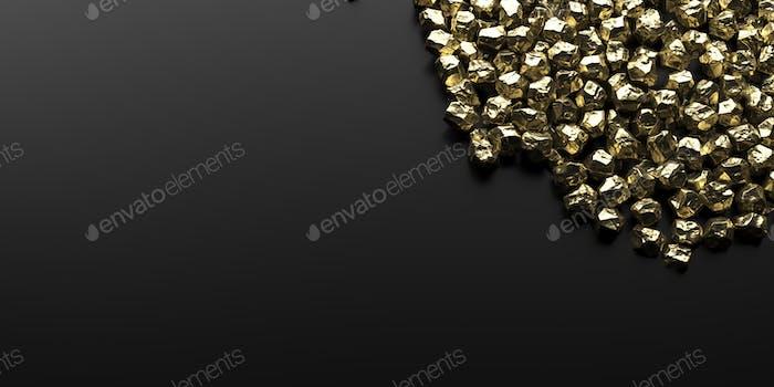 Luxuriöses Mineral-Konzept. Goldnuggets auf schwarzem, leeren Hintergrund, Kopierraum. 3D Illustration