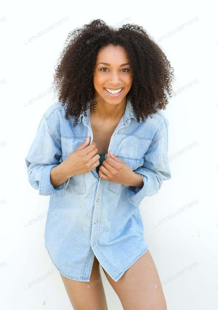 Carefree young black woman laughing