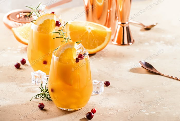 Orange Cranberry Rosemary and Vodka cocktail