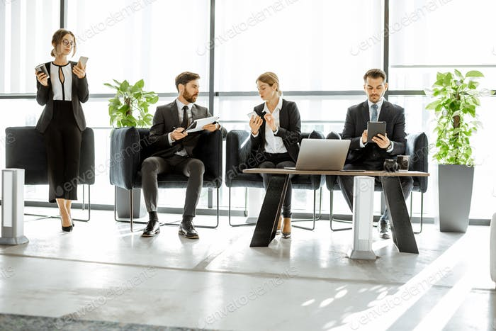 White-collars employees networking in the office