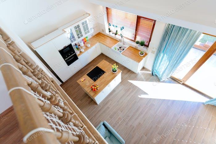 Modern kitchen top view