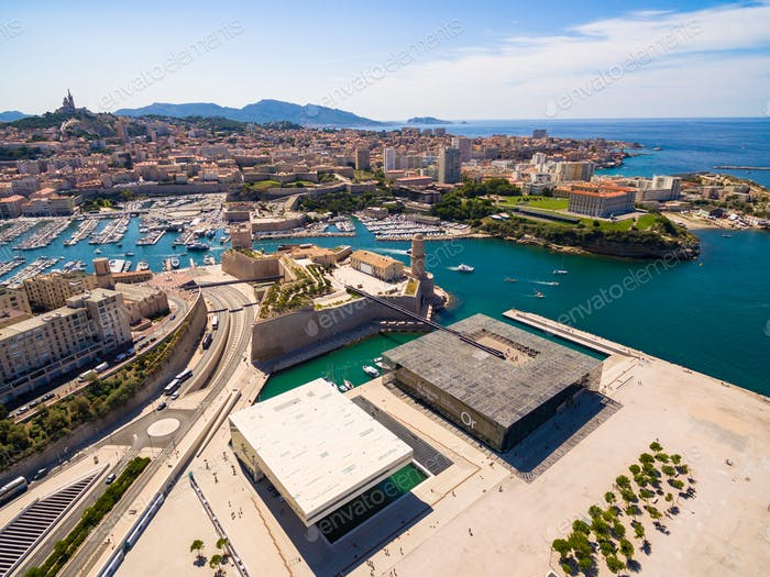 Aerial view of Marseille pier - Vieux Port, Saint Jean castle, a