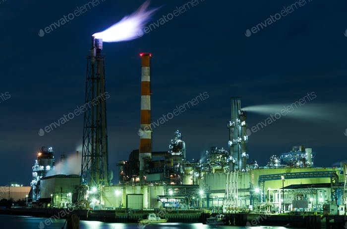 Seaside Industrial Factory at night