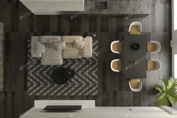 Top view Black minimalist Interior of modern living room 3D rendering