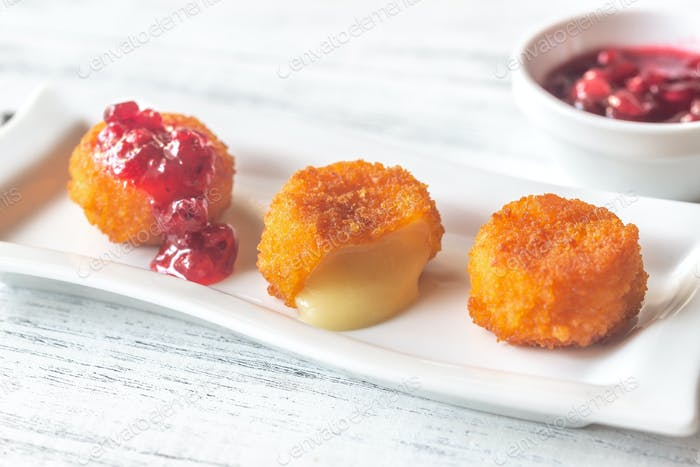 Camembert nuggets with cranberry sauce
