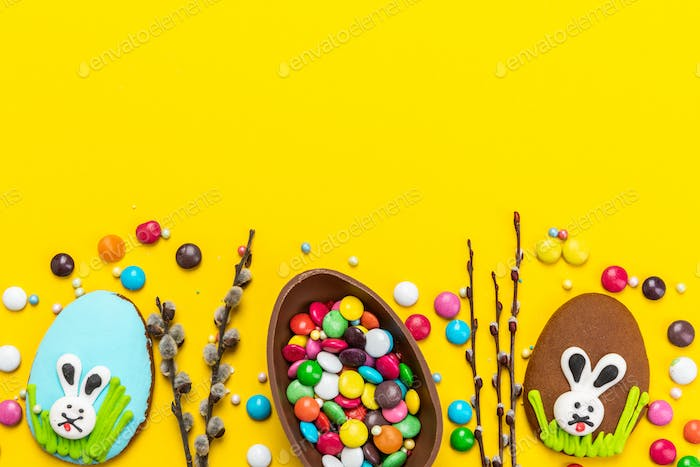 Colorful Festive Easter Background. Top Down View with Copy Space. Chocolate Egg