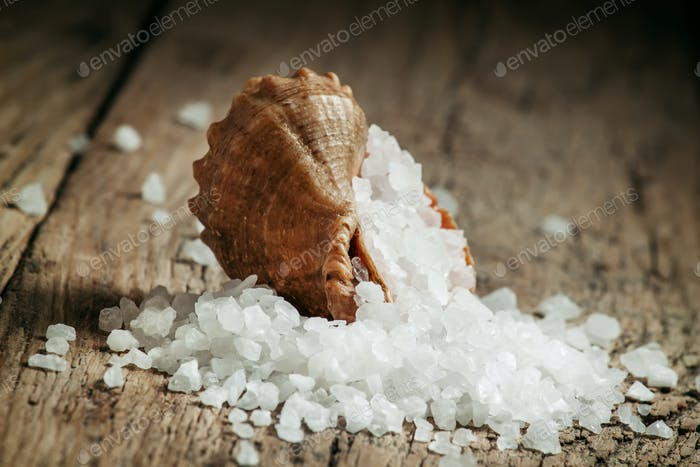 Large crystals of sea salt is poured from a seashell