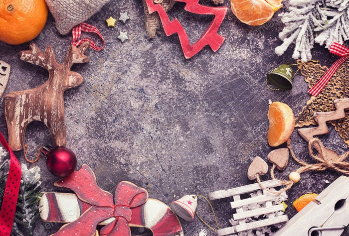 Christmas decoration around gray grunge background