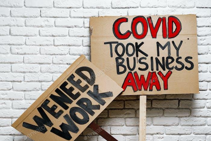 Protestive placard against coronavirus lockdowns close up