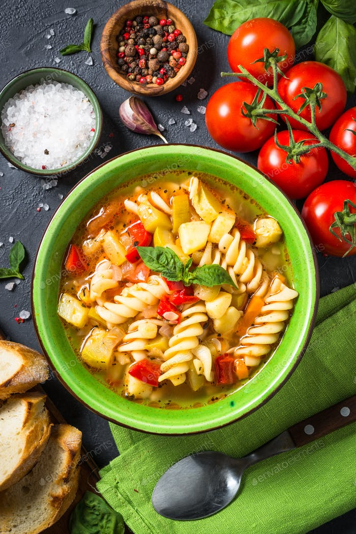 Minestrone with vegetable and pasta top view
