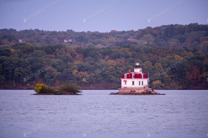 Port Ewen Lighthouse Flashes Bright in the Hudson River New York State