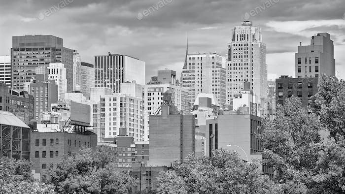 Black and white picture of New York City skyline, USA