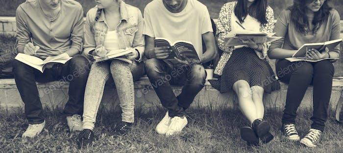 Junge Diverse Gruppe Studieren im Freien Konzept