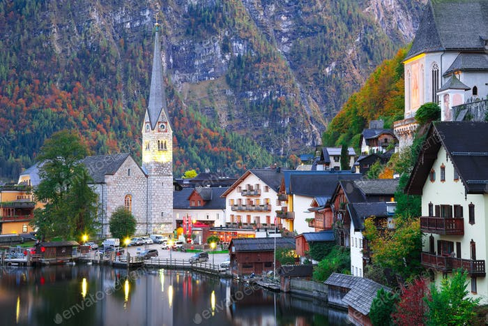 Classic postcard view of famous Hallstatt lakeside town reflecti