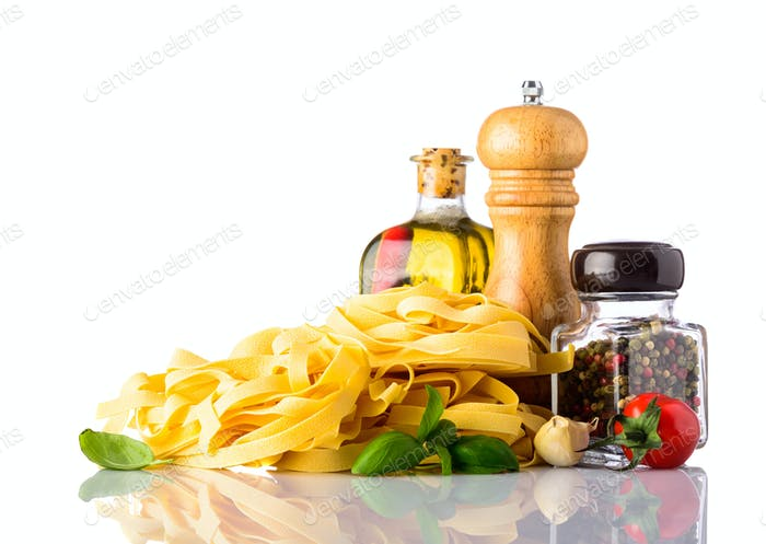 Yellow Tagliatelle Pasta with Food seasonings and Spices