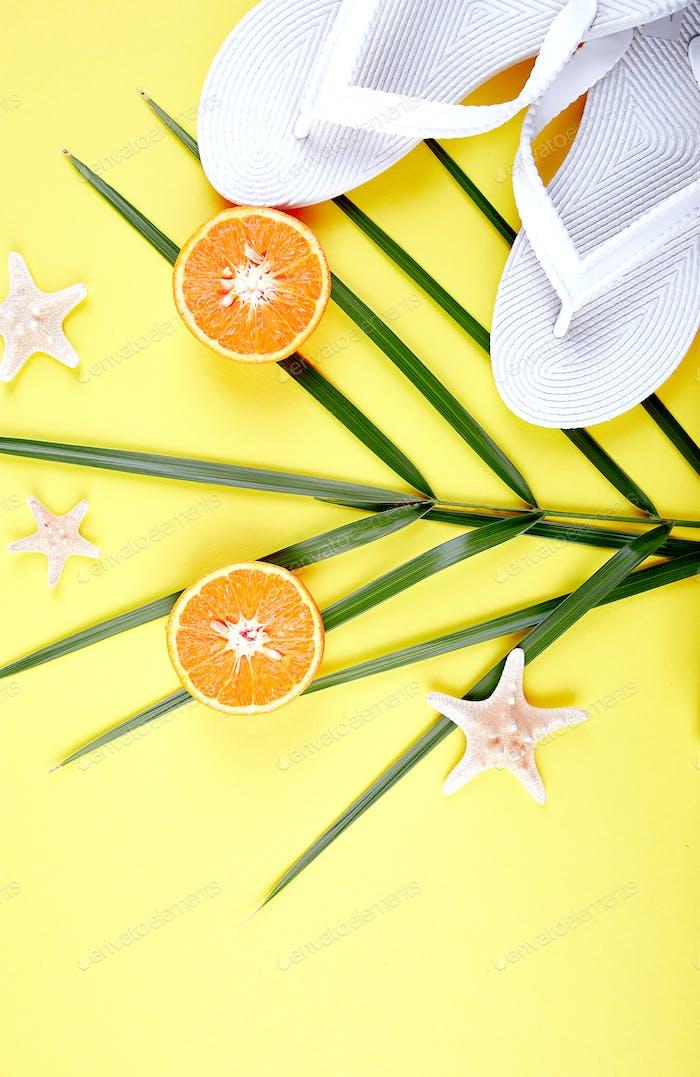White Flip flops, Orange fruit, starfish and palm