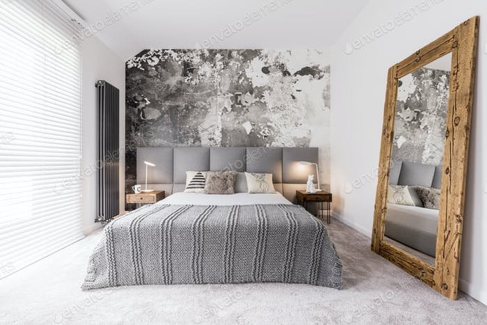Elegant, monochromatic bedroom