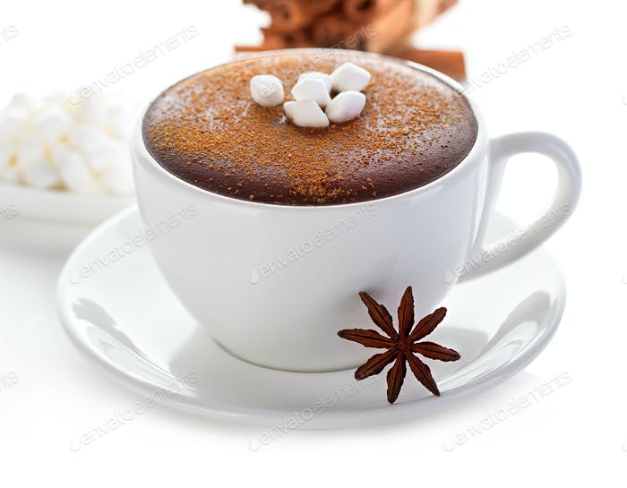 Hot chocolate close-up on a white background.