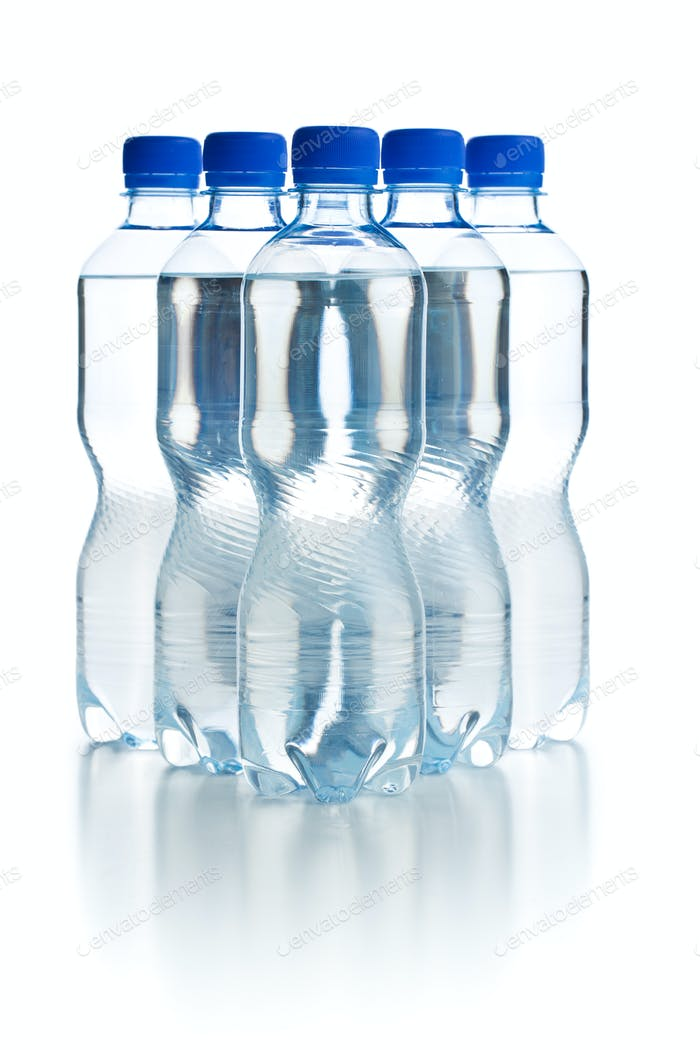 Small plastic water bottle.