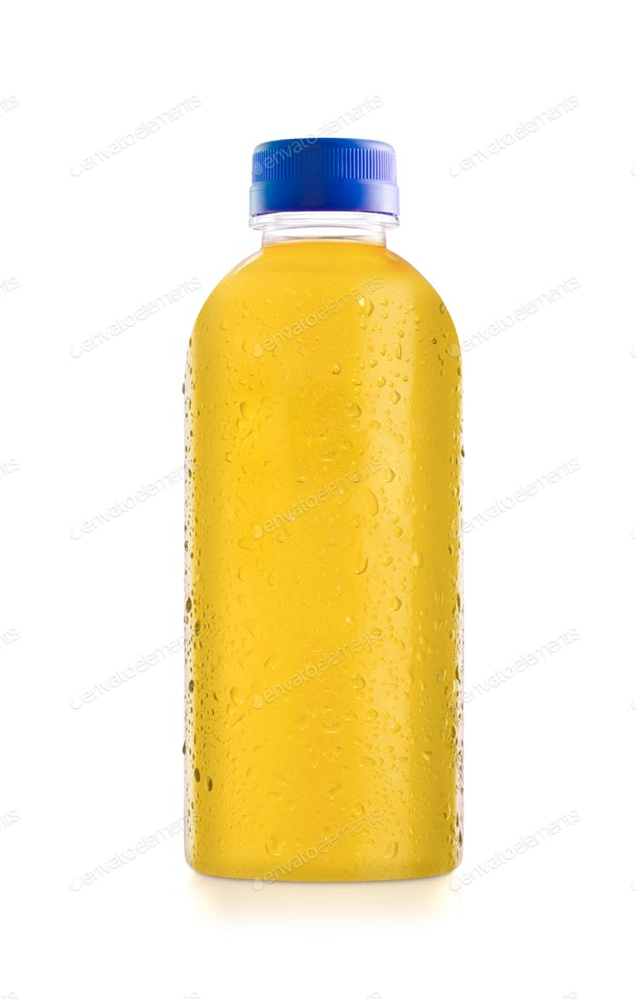 Plastic bottle of orange juice