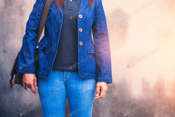 woman with fashionable jeans