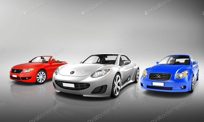 Multi Colored Three Dimensional Modern Cars