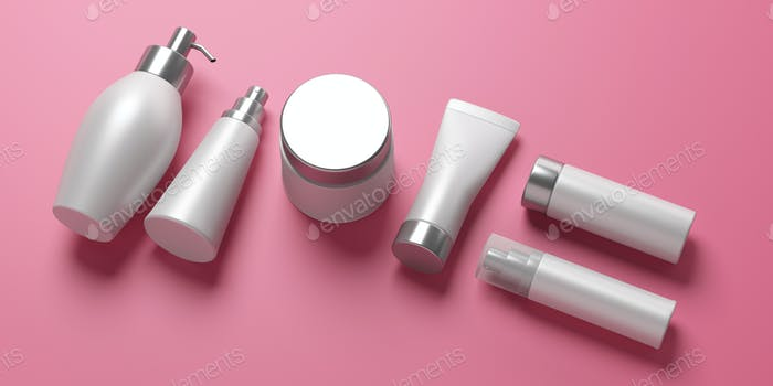 Blank cosmetics packages isolated on pink background, 3d illustration