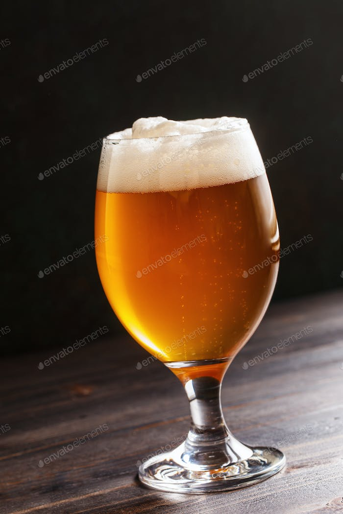 Glass goblet filled with fresh beer