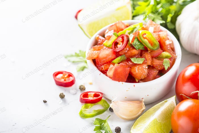 Salsa sauce on white