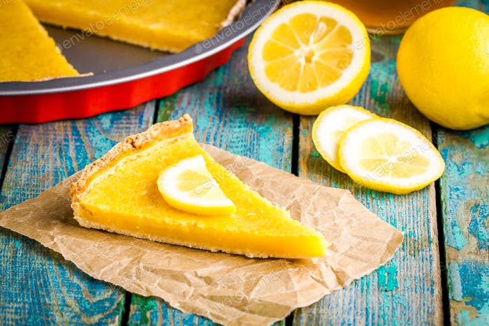 piece of lemon tart on baking paper