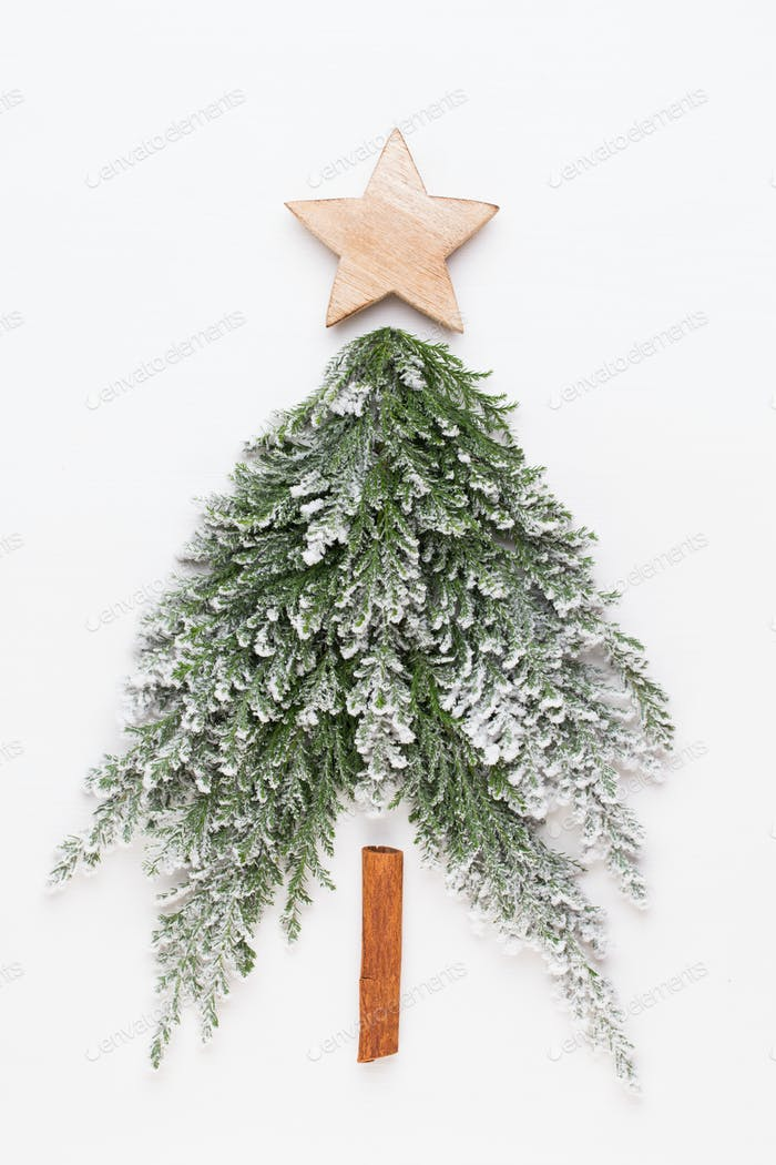 Christmas tree flat lay. Greeting card.
