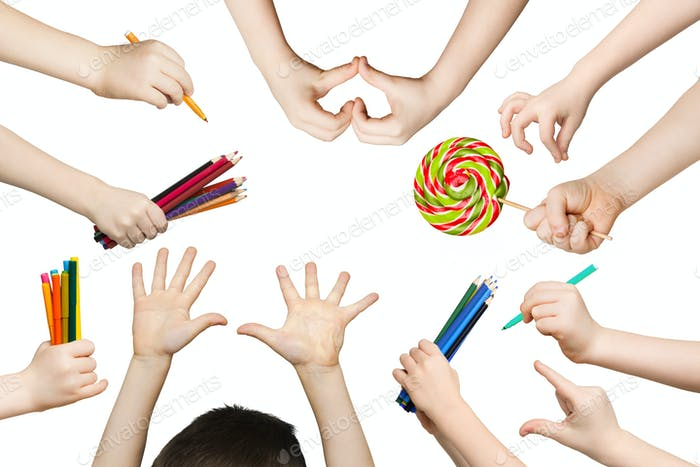 Set of child hands with pencils, lollipop, isolated