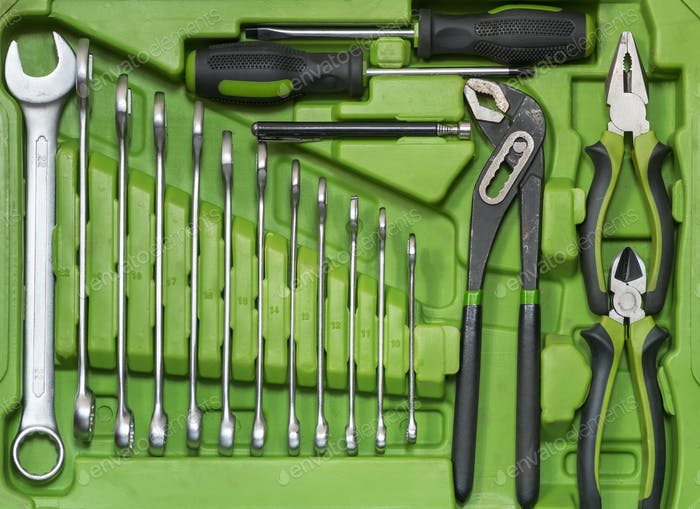 Set of tools for car repair in box