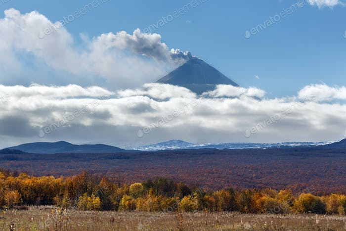 View of Explosive-Effusive Eruption Volcano of Kamchatka