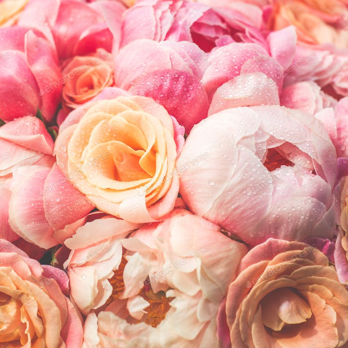 Fresh bunch of pink peonies and roses